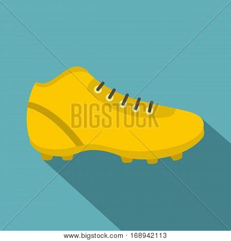 Football or soccer shoe icon. Flat illustration of football or soccer shoe vector icon for web   on baby blue background