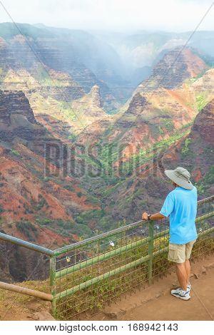 A man enjoying the beautiful views of the Waimea Canyon lookout, Kauai island, Hawaii