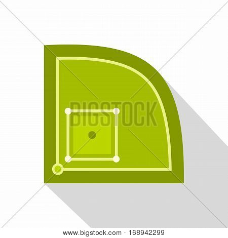 Green baseball field icon. Flat illustration of green baseball field vector icon for web   on white background