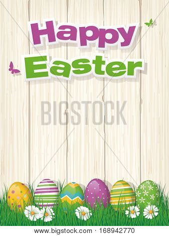 Happy Easter poster or greeting card with painted easter eggs in grass and copy space vector illustration
