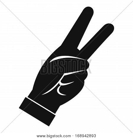 Hand showing victory sign icon. Simple illustration of hand showing victory sign vector icon for web