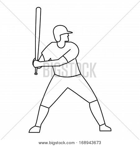 Baseball player icon. Outline illustration of baseball player vector icon for web