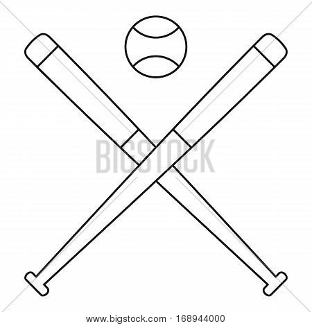 Baseball ball with bats icon. Outline illustration of baseball ball with bats vector icon for web
