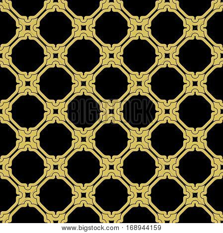 Oriental vector classic black and golden pattern. Seamless abstract background with repeating elements. Orient background