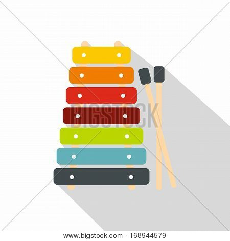 Colorful xylophone toy and sticks icon. Flat illustration of colorful xylophone toy and sticks vector icon for web   on white background