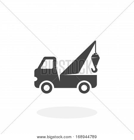 Evacuator car icon isolated on white background. Evacuator vector logo. Flat design style.