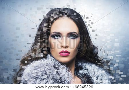 Young, healthy and beautiful girl (plastic surgery, beauty medicine, cosmetics and visage mosaic concept)