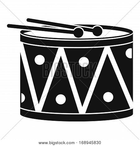 Drum and drumsticks icon. Simple illustration of drum and drumsticks vector icon for web