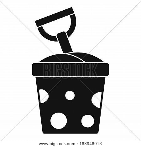 Toy bucket and shovel icon. Simple illustration of toy bucket and shovel vector icon for web