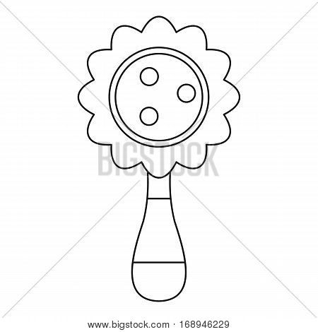 Baby rattle icon. Outline illustration of baby rattle vector icon for web