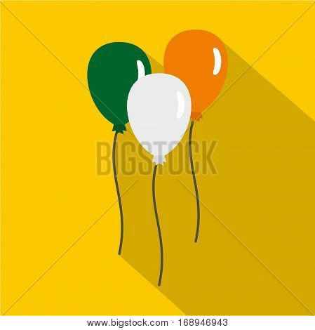 Balloons in Irish flag colors icon. Flat illustration of balloons in Irish flag colors vector icon for web   on yellow background