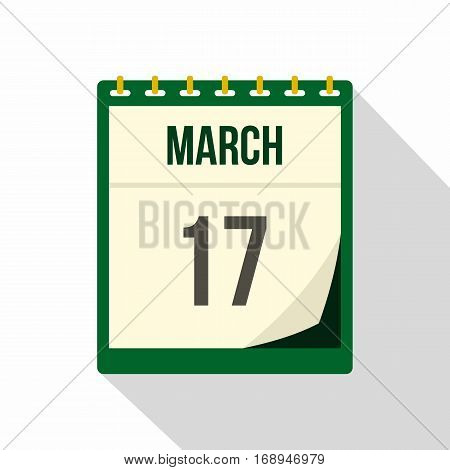 Calendar with St. Patrick Day date icon. Flat illustration of calendar with St. Patrick Day date vector icon for web   on white background