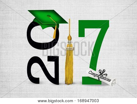 green graduation cap and gold tassel for class of 2017
