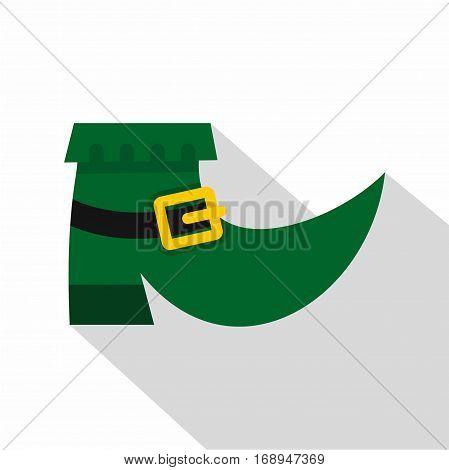 Green leprechaun boot icon. Flat illustration of green leprechaun boot vector icon for web   on white background