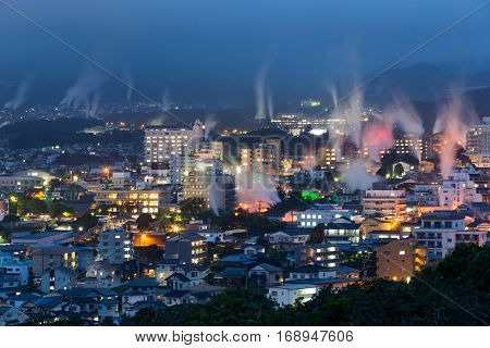 Beppu city in Japan at night