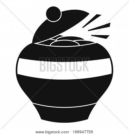 Pot full of gold coins icon. Simple illustration of pot full of gold coins vector icon for web