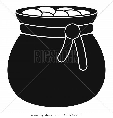 Bag full of gold coins icon. Simple illustration of bag full of gold coins vector icon for web