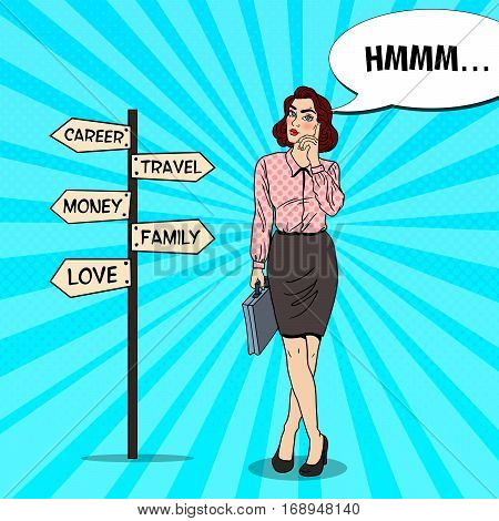 Pop Art Doubtfull Business Woman on Crossroads Pointer Sign. Vector illustration