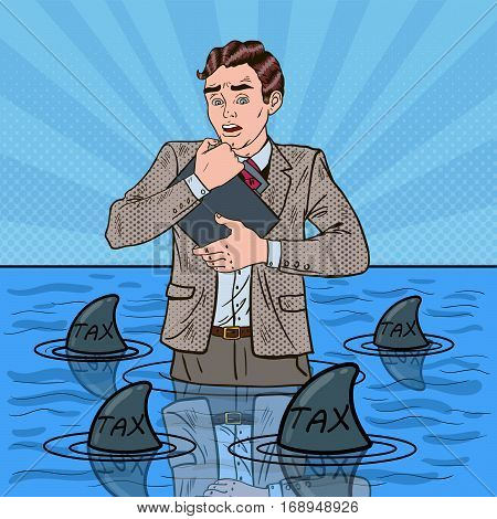 Pop Art Worried Helpless Businessman Swimming with Sharks. Vector illustration
