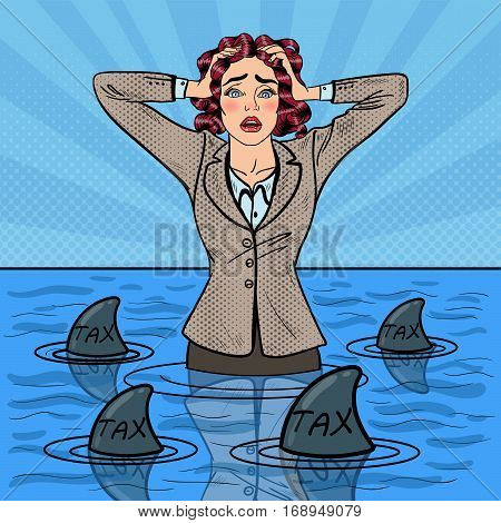 Pop Art Worried Helpless Businesswoman Swimming with Sharks. Vector illustration