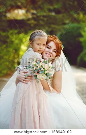 Bride With  Little Sister