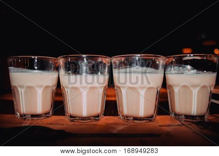Coffee Liqueur, Shot Glasses With Homemade Baileys, Roasted Coffee Beans And Chocolate, Selective Fo