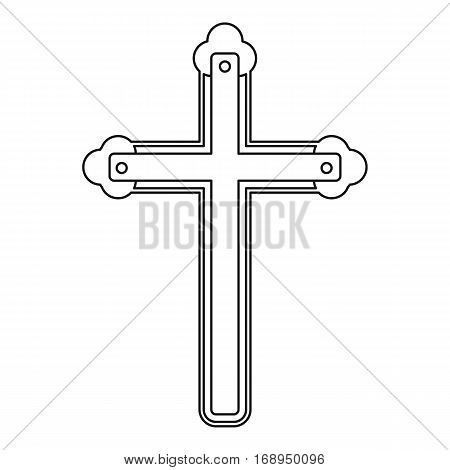 Holy cross icon. Outline illustration of holy cross vector icon for web