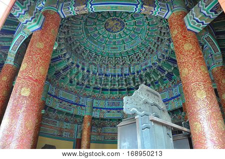 BEIJING, CHINA - JUN.22, 2012: Ceiling of Imperial Vault of Heaven in Temple of Heaven, Beijing, China. Temple of Heaven: an Imperial Sacrificial Altar in Beijing is UNESCO World Heritage Site since 1998.
