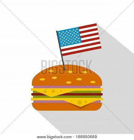 Hamburger icon. Flat illustration of hamburger vector icon for web
