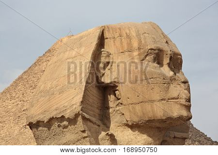 The Sphinx at Giza and pyramid