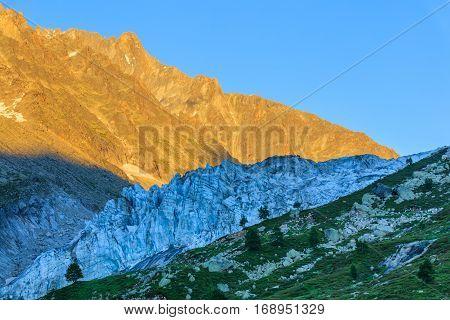 Argentiere Glacier view Chamonix Mont Blanc Massif Alps France