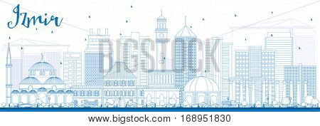 Outline Izmir Skyline with Blue Buildings. Vector Illustration. Business Travel and Tourism Concept with Modern Architecture. Image for Presentation Banner Placard and Web Site.