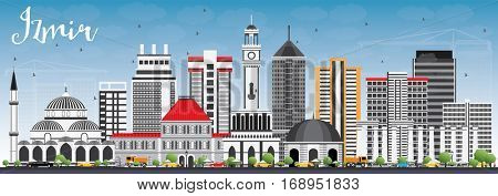 Izmir Skyline with Gray Buildings and Blue Sky. Vector Illustration. Business Travel and Tourism Concept with Modern Architecture. Image for Presentation Banner Placard and Web Site.