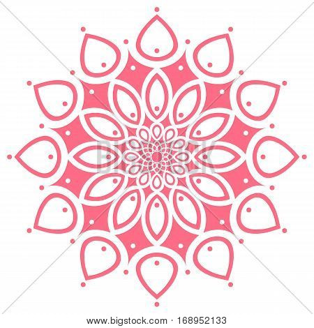 pink round symmetry pattern, simple mandala, rosette