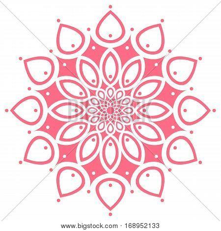 pink round symmetry pattern, simple mandala, rosette