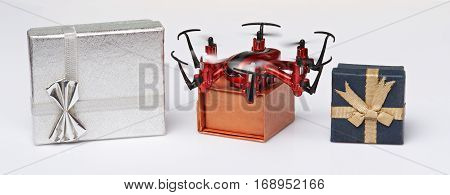 Express delivery via drone service. Gift boxes transport by drone shipping