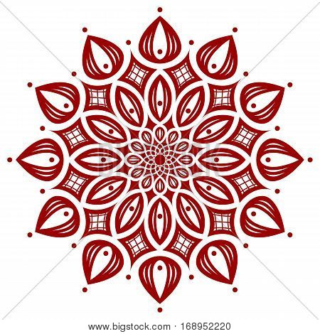 dark red round symmetry pattern, mandala, fancyrosette