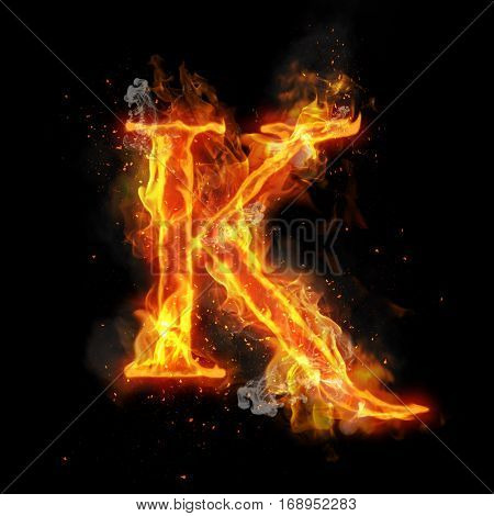 Fire letter K of burning flame. Flaming burn font or bonfire alphabet text with sizzling smoke and fiery or blazing shining heat effect. Incandescent hot red fire glow on black background