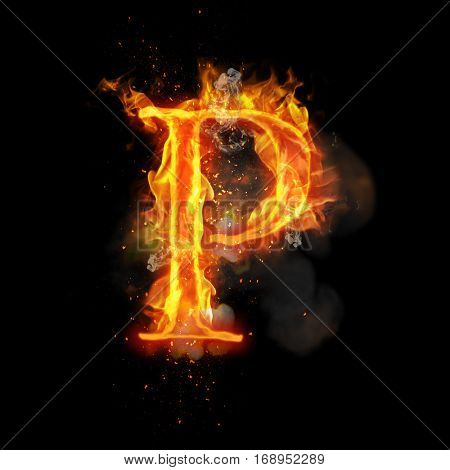 Fire letter P of burning flame. Flaming burn font or bonfire alphabet text with sizzling smoke and fiery or blazing shining heat effect. Incandescent hot red fire glow on black background poster
