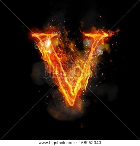 Fire letter V of burning flame. Flaming burn font or bonfire alphabet text with sizzling smoke and fiery or blazing shining heat effect. Incandescent hot red fire glow on black background