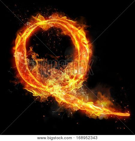 Fire letter Q of burning flame. Flaming burn font or bonfire alphabet text with sizzling smoke and fiery or blazing shining heat effect. Incandescent hot red fire glow on black background