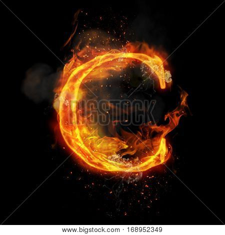 Fire letter C of burning flame. Flaming burn font or bonfire alphabet text with sizzling smoke and fiery or blazing shining heat effect. Incandescent hot red fire glow on black background