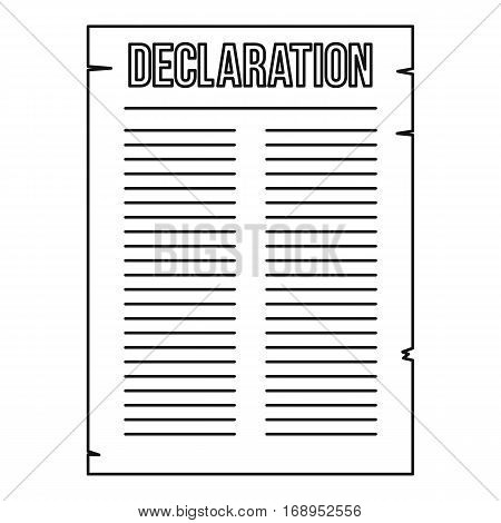 Declaration of independence icon. Outline illustration of declaration of independence vector icon for web