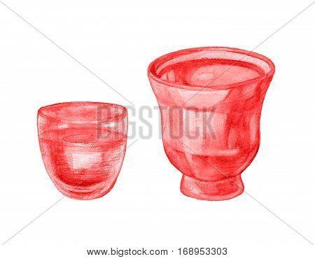 Watercolor flower pot vase isolated on white background. Watercolor flowerpot set. Hand drawn flower pots.