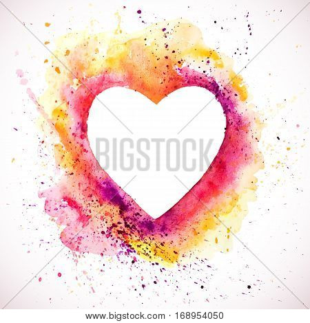 Vector watercolor heart background. Valentine's day, Colorful abstract texture frame. Vintage red heart.