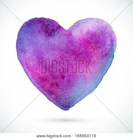 Vector violet watercolor heart background. Valentine's day. Colorful abstract texture. Grunge shape heart.