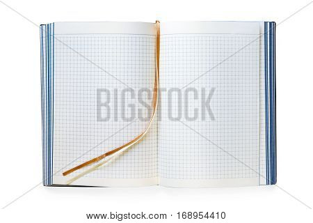 Open blank business note with bookmarks. Isolated on white with clipping path