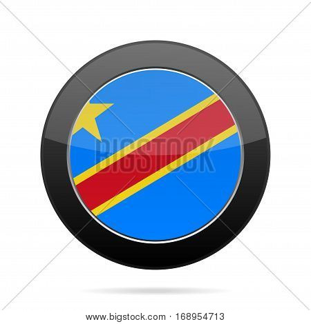 National flag Democratic Republic of the Congo. Shiny black round button with shadow.