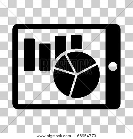 Charts On PDA icon. Vector illustration style is flat iconic symbol, black color, transparent background. Designed for web and software interfaces.