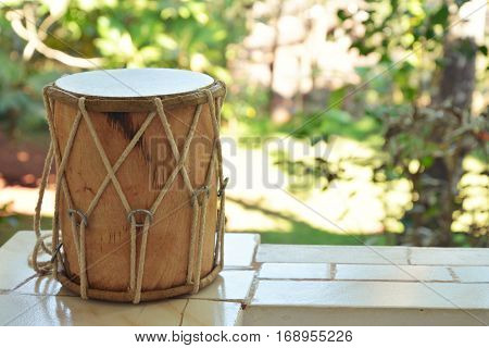 A Traditional Indian drum djembe outdoor closeup